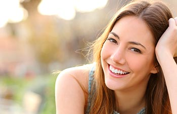 Cheerful teenage girl with perfect smile.